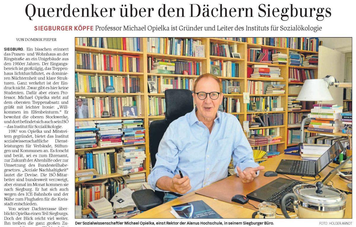 Portrait Prof. Michael Opielka im Generalanzeiger Bonn (30.8.2018)
