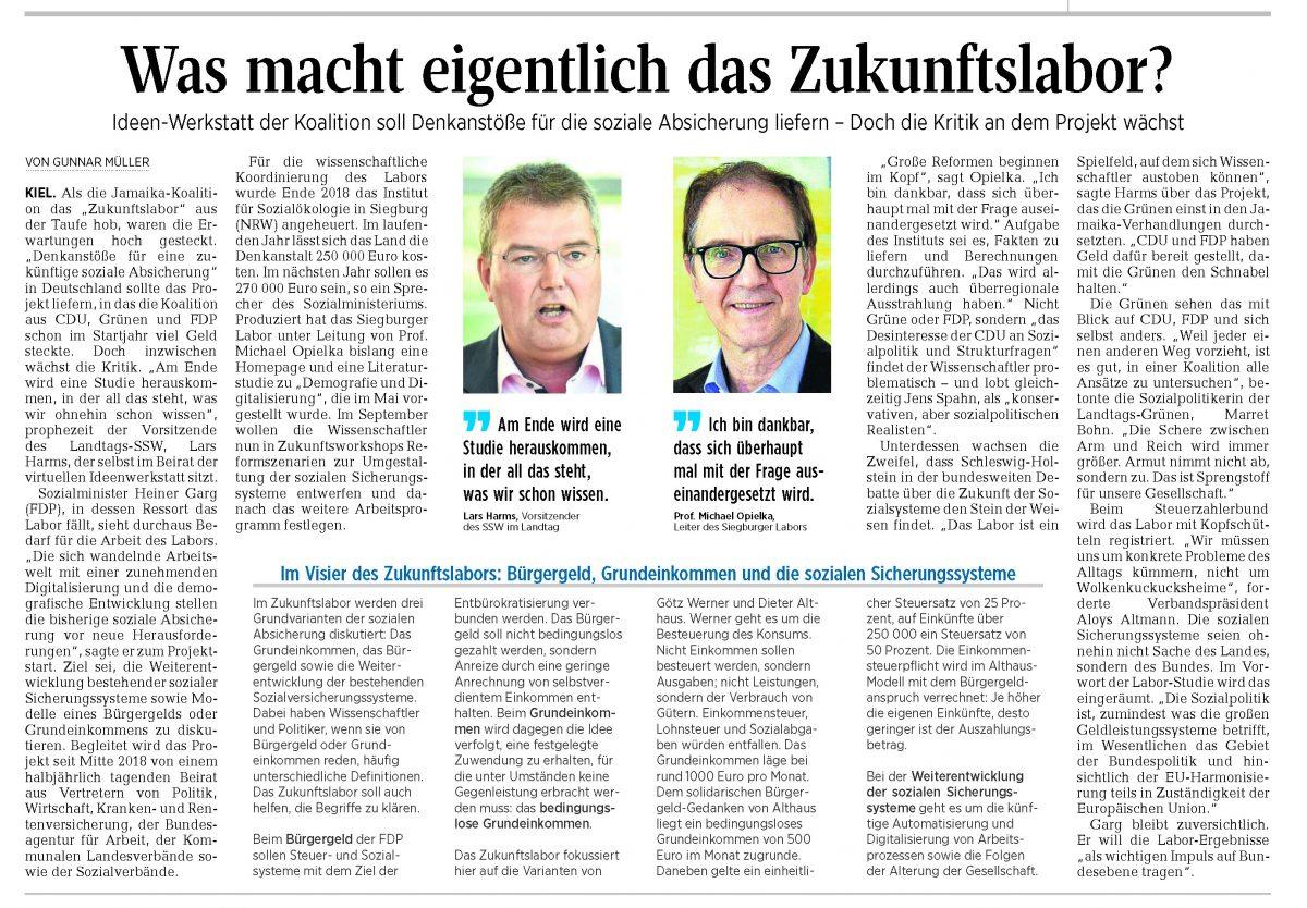 """Pressereaktionen zum """"Zukunftslabor Schleswig-Holstein"""" (August und November 2019)"""