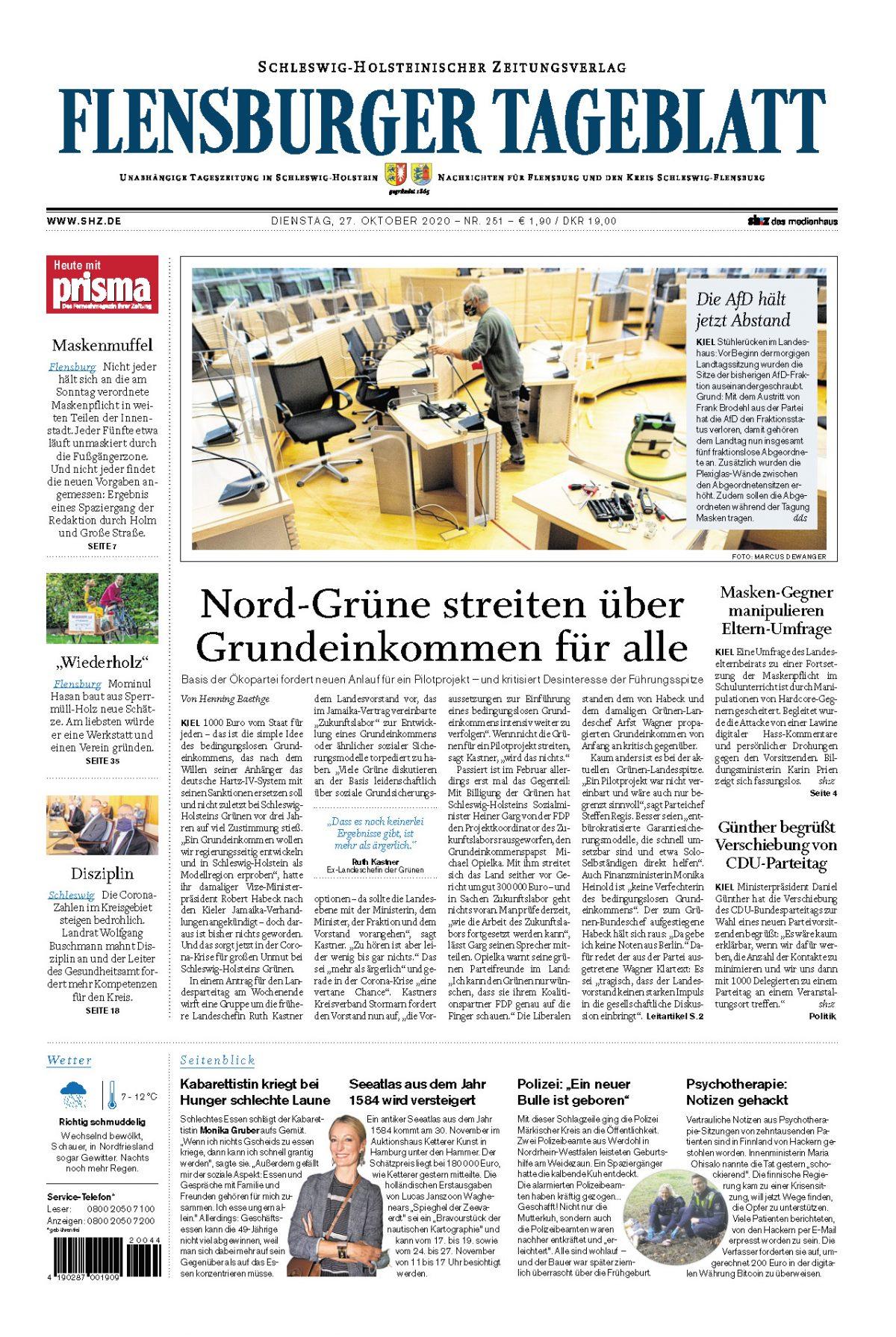 Zukunftslabor – Presse in Schleswig-Holstein berichtet zum grünen Streit (27.10.2020)
