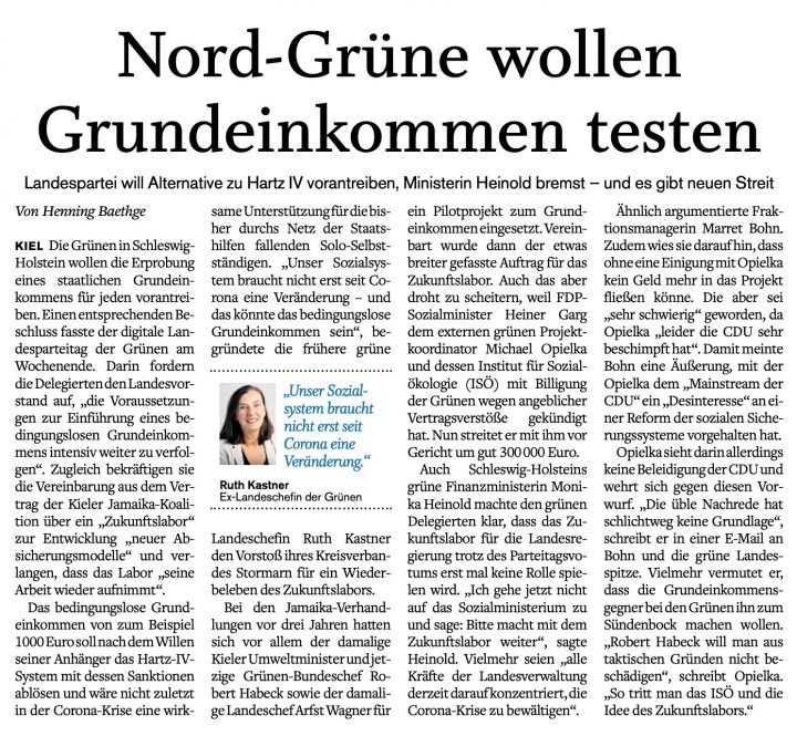 Die Grünen und das Zukunftslabor weiter im Spiegel der Presse (3.11.2020)