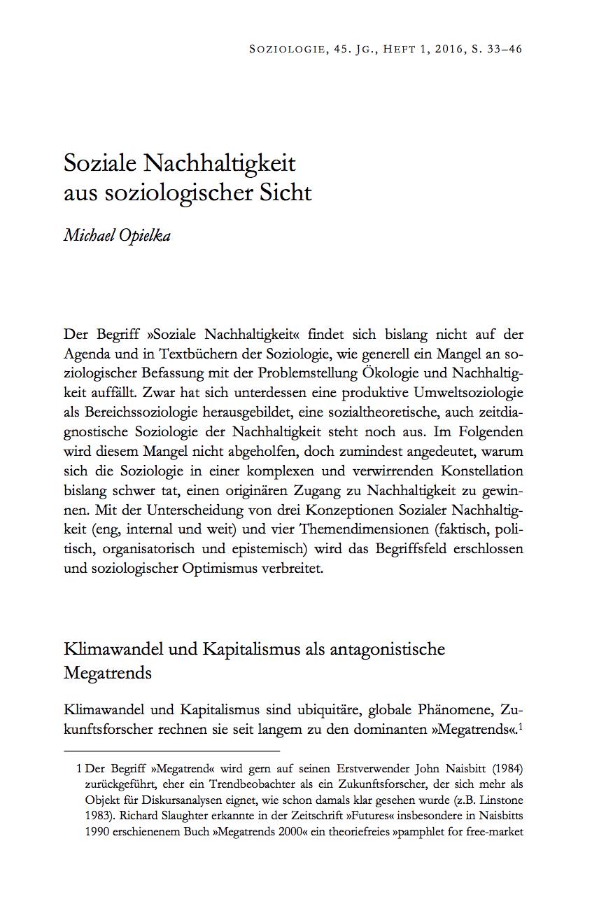 Michael Opielka, Soziale Nachhaltigkeit aus soziologischer Sicht (2016)