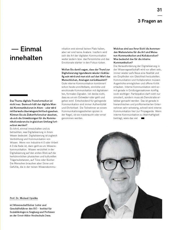 Einmal innehalten – 3 Fragen an Prof. Opielka zu Digitalisierung und interner Kommunikation