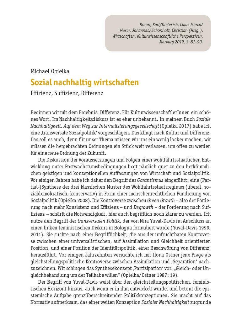 Michael Opielka, Sozial nachhaltig wirtschaften. Effizienz, Suffizienz, Differenz (2019)