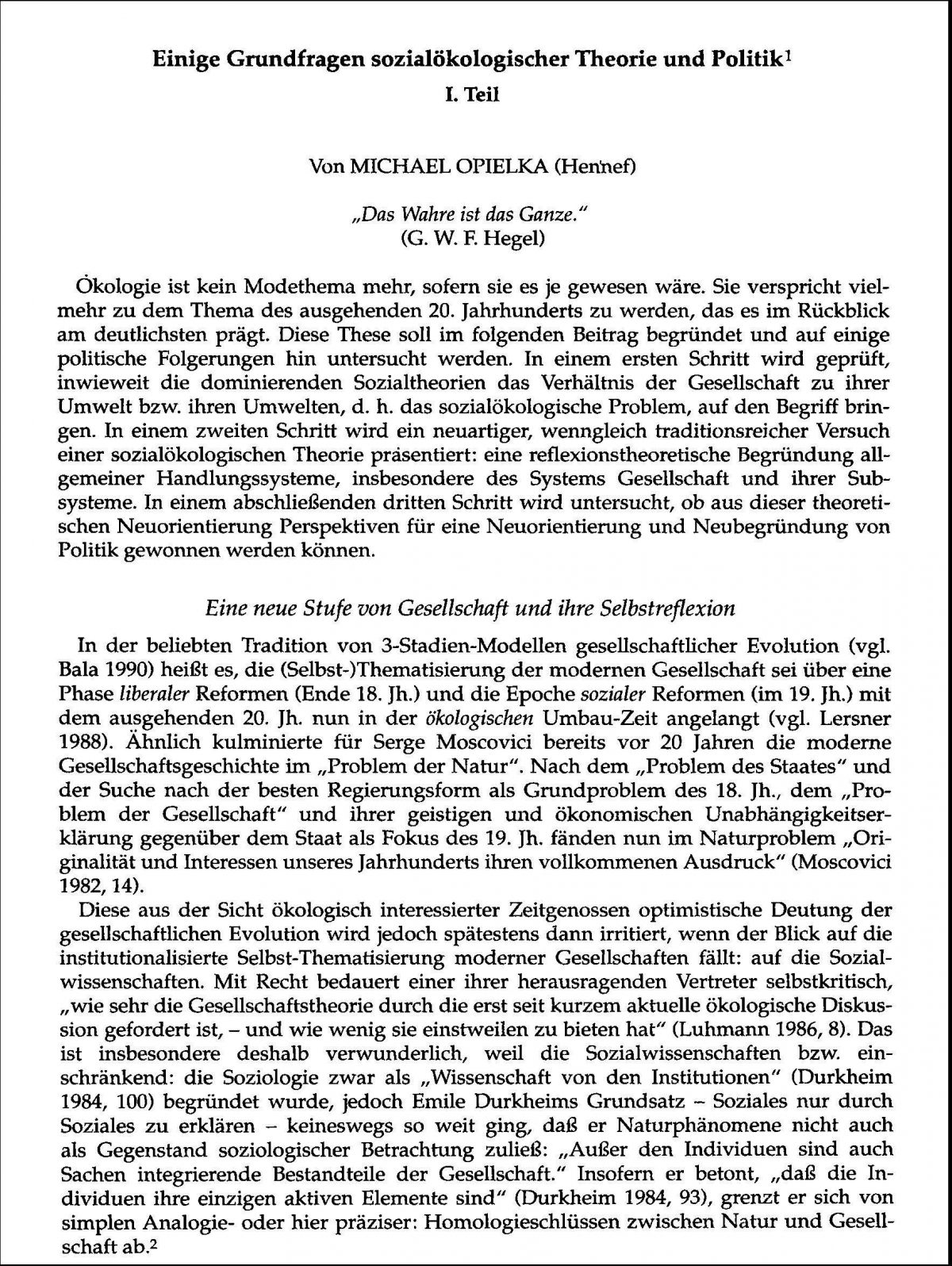 Michael Opielka, Einige Grundfragen sozialökologischer Theorie und Politik (1990)