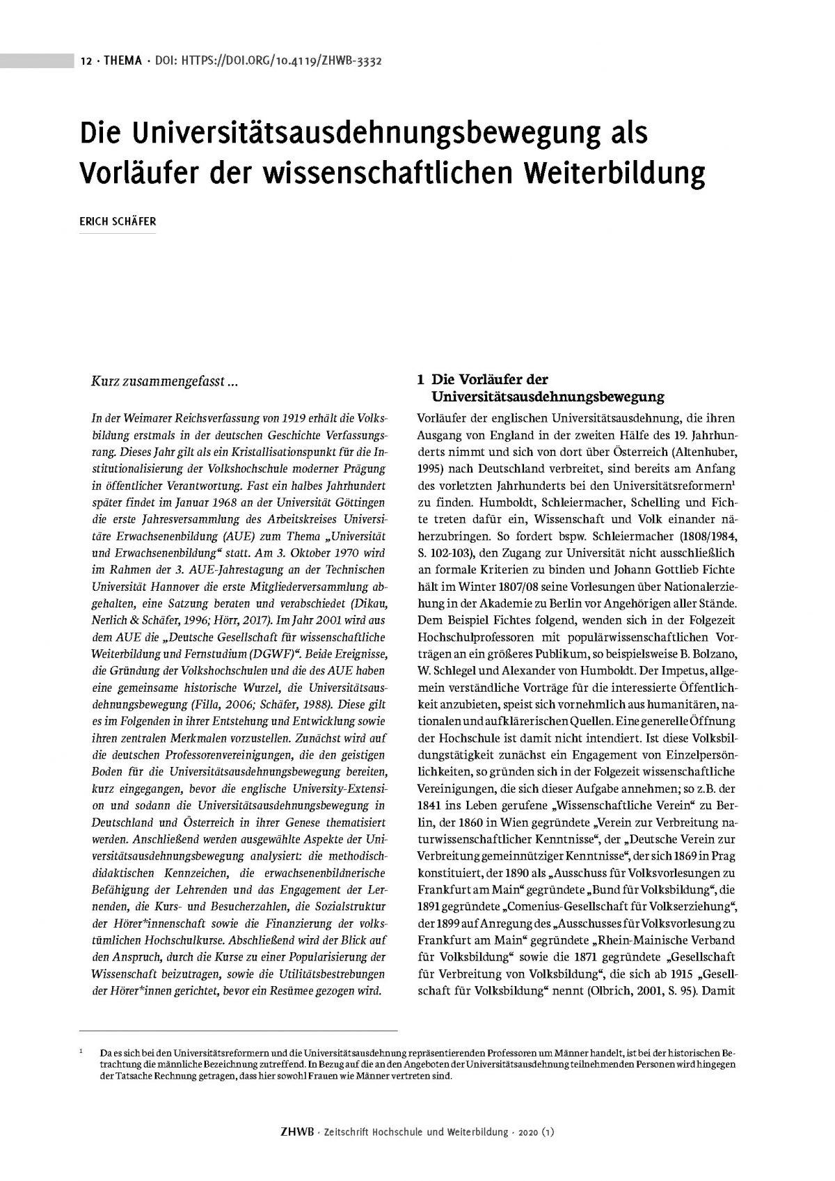 Erich Schäfer, Die Universitätsausdehnungsbewegung als Vorläufer der wissenschaftlichen Weiterbildung (2020)