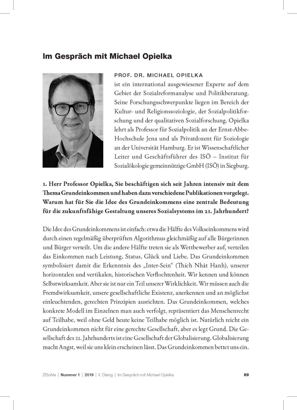 """""""Zeitschrift für Sozialmanagement"""": Im Gespräch mit Michael Opielka"""
